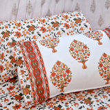 Block Print Maroon & Gold Cotton Double Bed Sheet