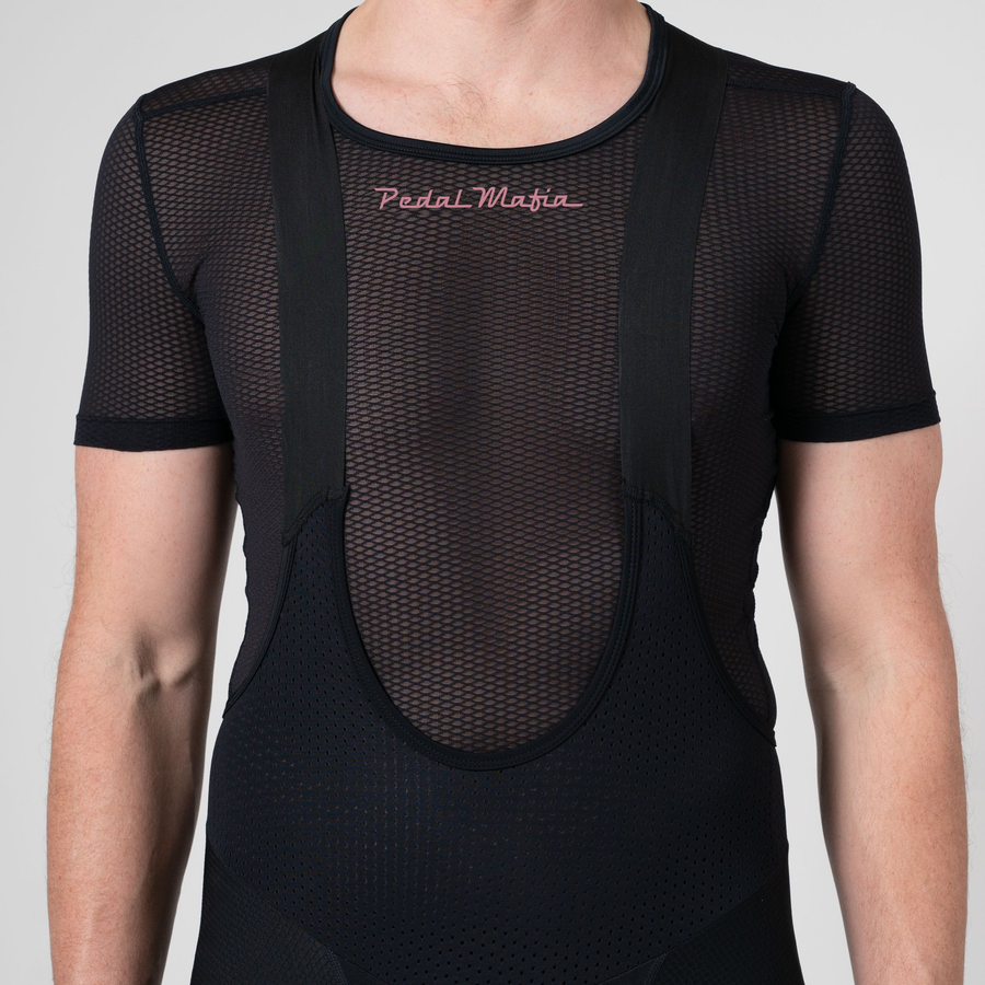 Mens Tech Base Layer - Black Pink, Short Sleeve