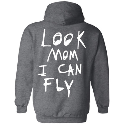 Look Mom I Can Fly Hoodie Dark - Dark Heather - NINONINE