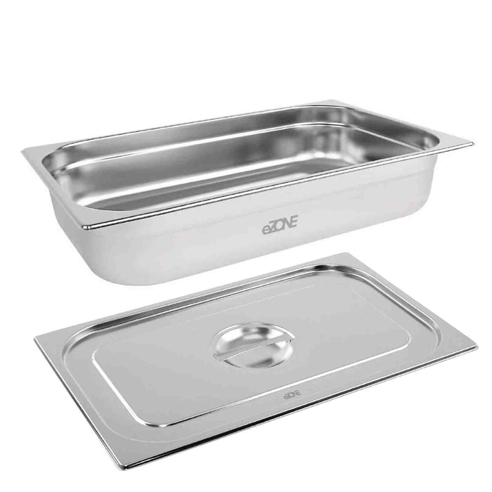 Gastronorm & Lid 1/1 Size Stainless Steel Bain Marie Food Container Pan 100mm