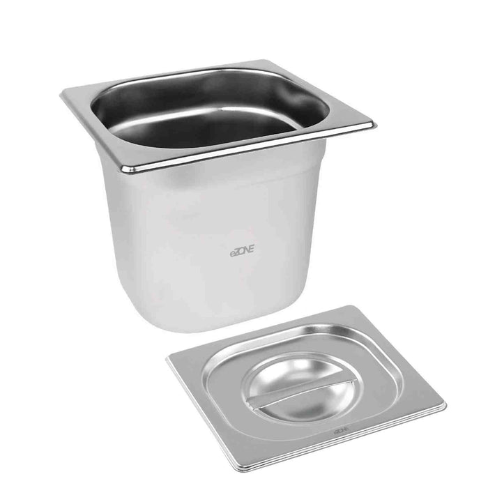Gastronorm Pan Container 1/9 150mm + Lid Stainless Steel Bain Marie Try Buffet Display