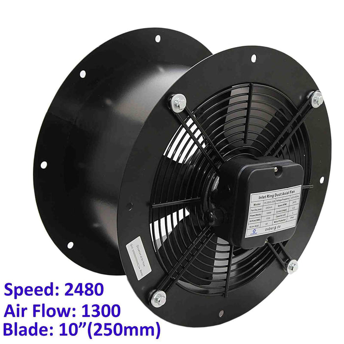 250mm Industrial Duct Fan Cased Axial Commercial Kitchen Canopy Extractor