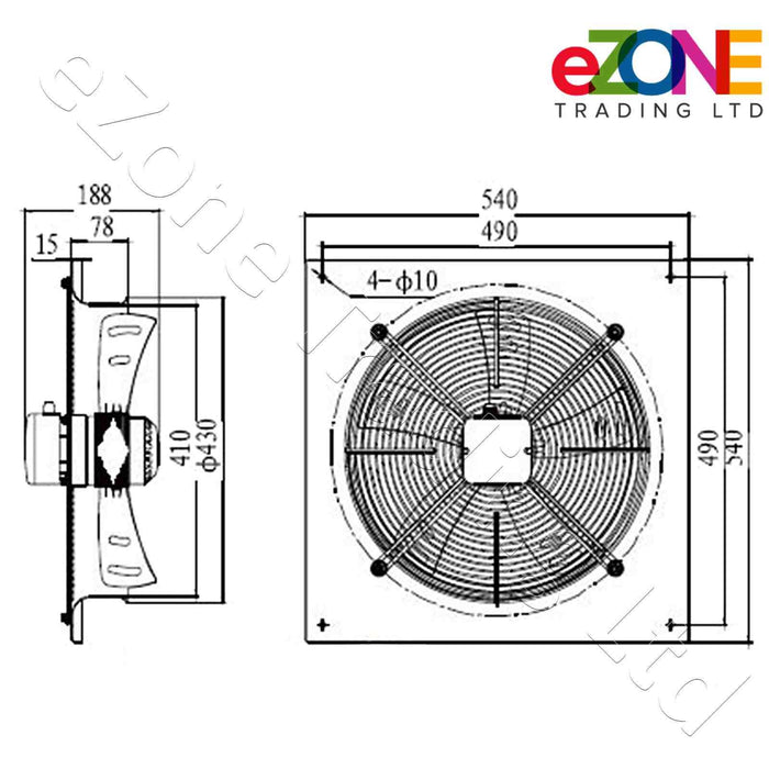 Metal air extractor exhaust fan. 400mm Blade size in our Catering supplies department