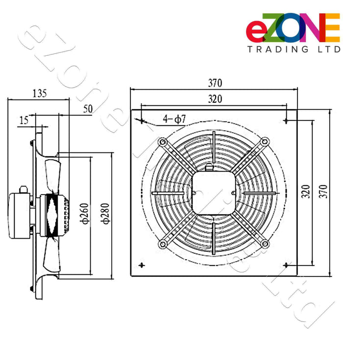Metal air extractor exhaust fan. 250mm Blade size in our Catering supplies department