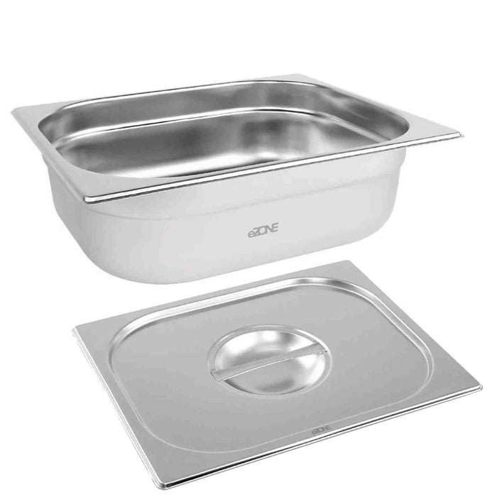 Gastronorm & Lid 1/2 Half Stainless Steel Bain Marie Food Container Pan 100mm