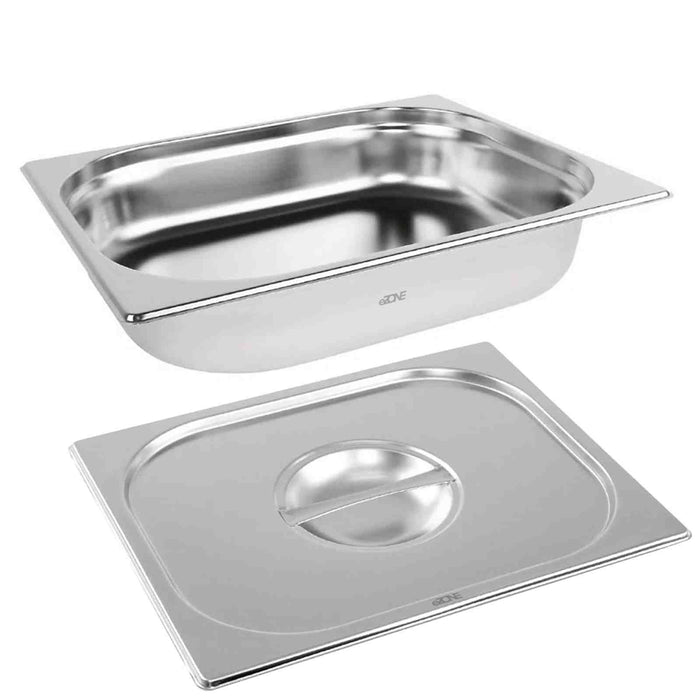Gastronorm & Lid 1/2 Half Stainless Steel Bain Marie Food Container Pan 65mm