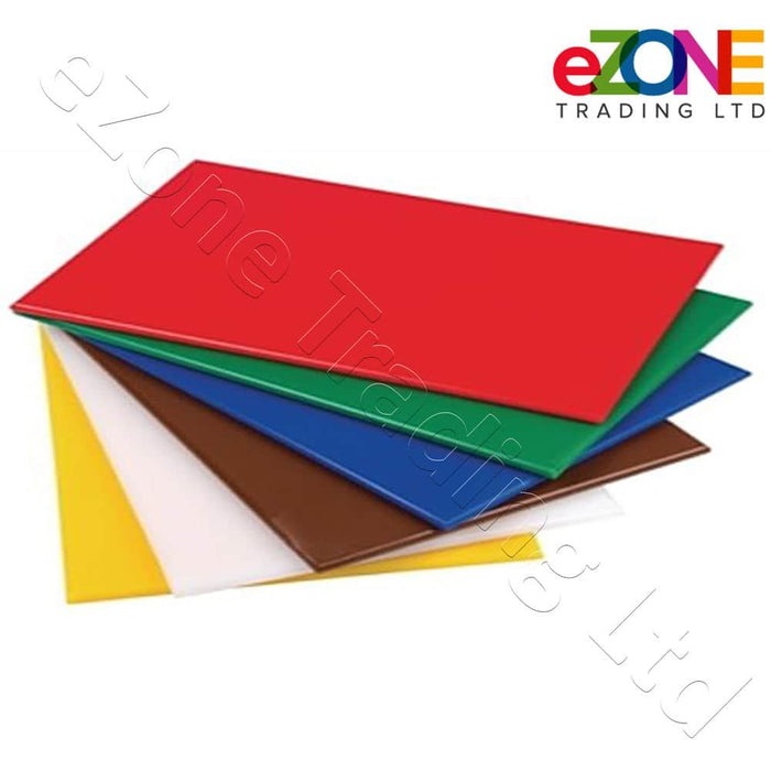 Set Kitchen of 6X Standard Low Density Chopping Board Colour Coded with rack and chart