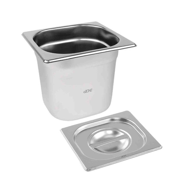 Gastronorm & Lid 1/6 Sixth Stainless Steel Bain Marie Food Container Pan 150mm