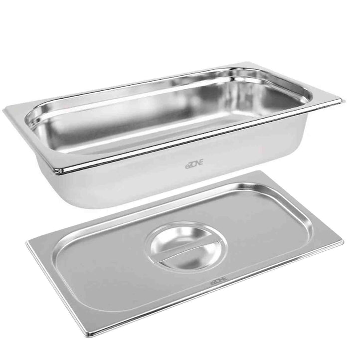 Gastronorm & Lid 1/3 Third Stainless Steel Bain Marie Food Container Pan 65mm