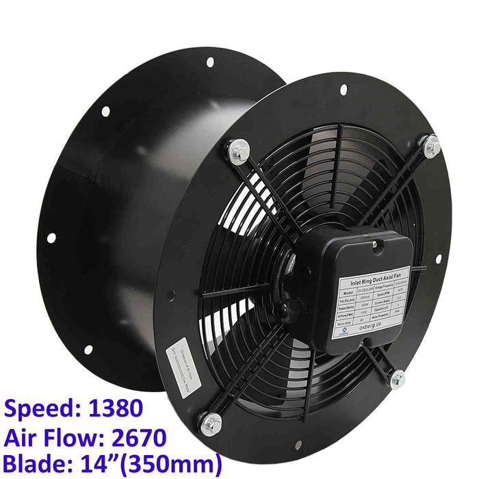 350mm Industrial Duct Fan Cased Axial Commercial Kitchen Canopy Extractor