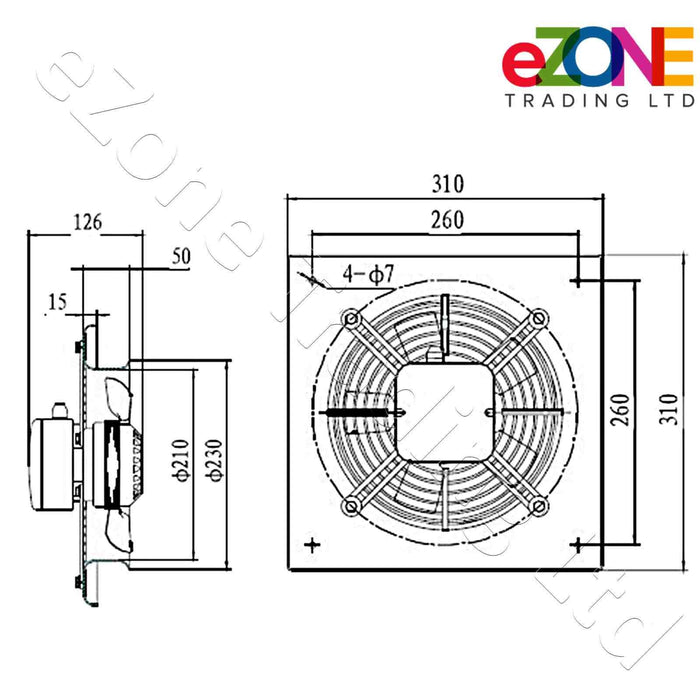 Metal air extractor exhaust fan. Quiet model. 200mm Blade size in our Catering supplies department