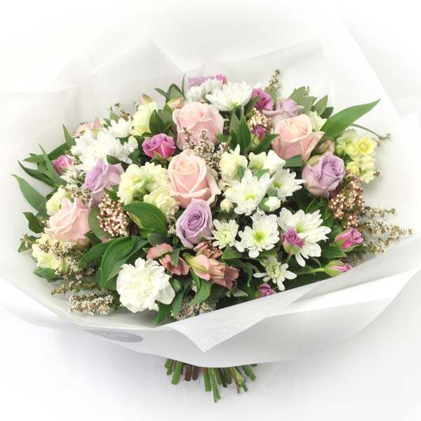pastel pink and purple flower bouquet