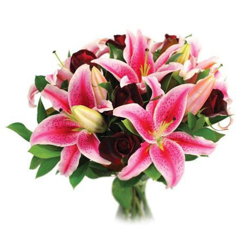 Lily & Rose Bouquet - Pink & Red