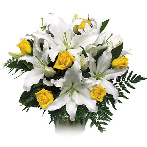 White lily and yellow rose bouquet