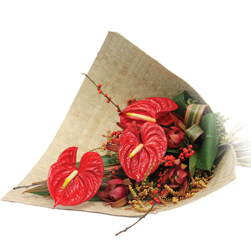 Anthurium Bouquet with flax