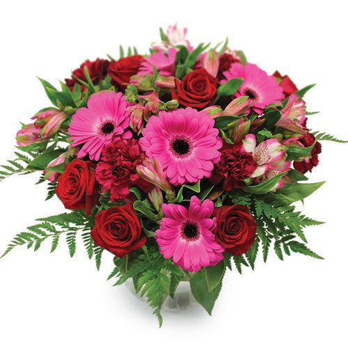 Red roses and pink gerbera Bouquet