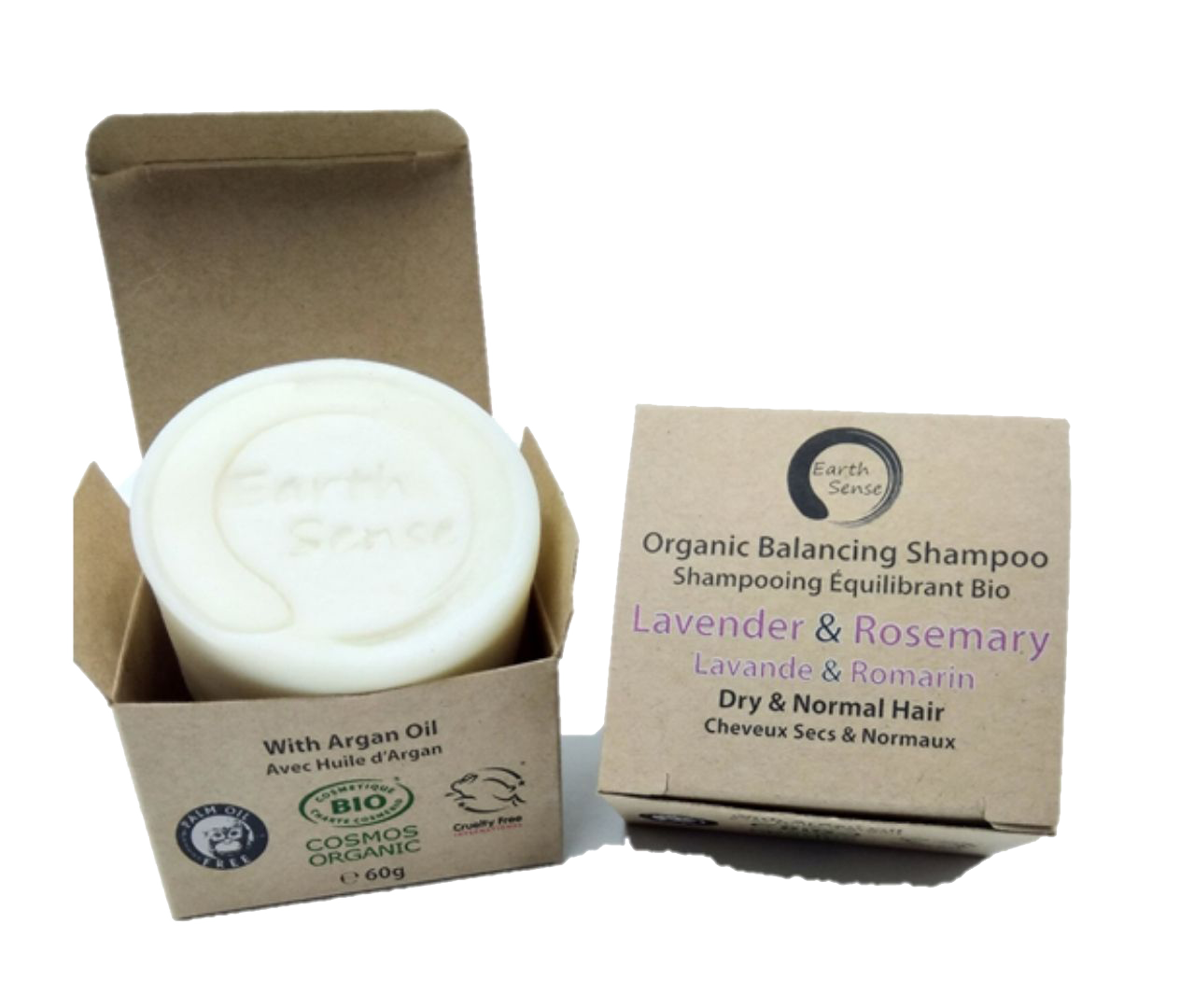 Organic Certified Balancing Solid Shampoo - Lavender & Rosemary - Dry & all Hair Types 60g