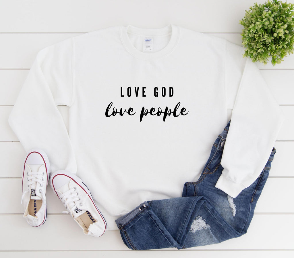 Love God Love People Crewneck Sweatshirt Printify