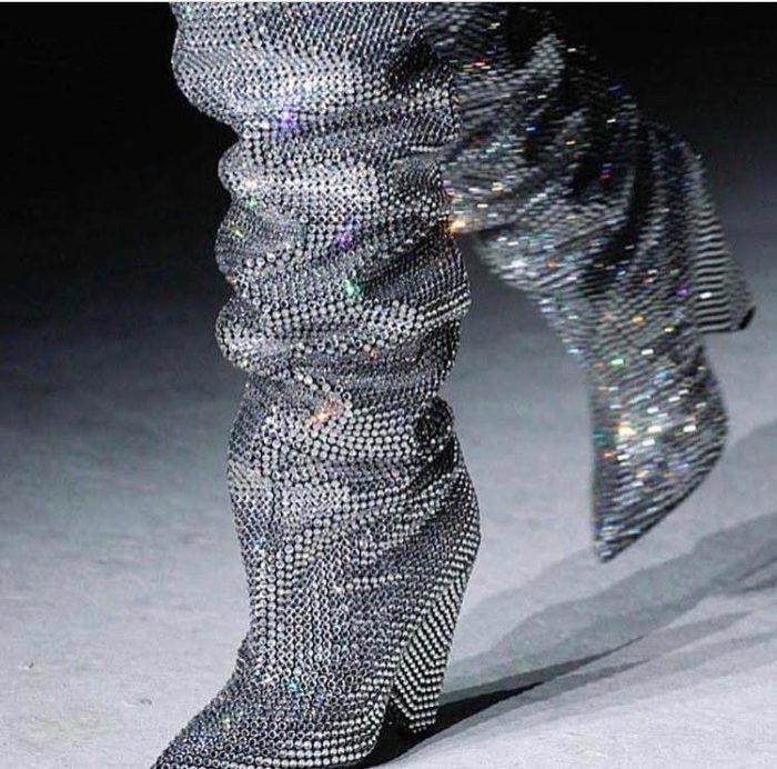diamond rhinestone fall 2017 ysl boots