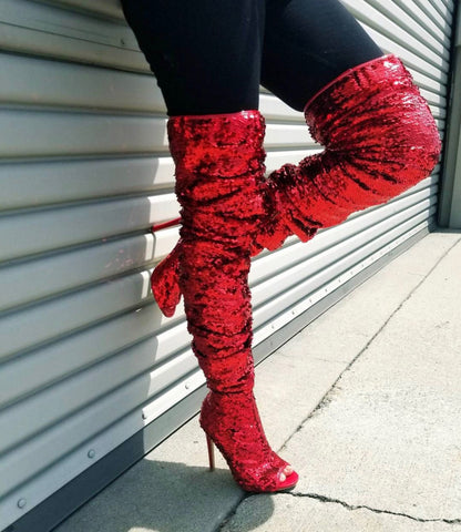 red thigh high sequin peep toe boots Cape Robbin