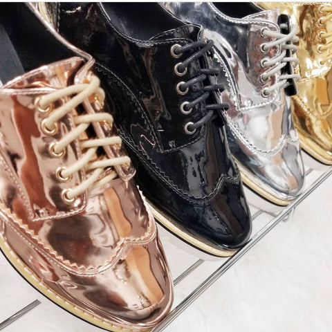 metallic womens brogues by cape robbin
