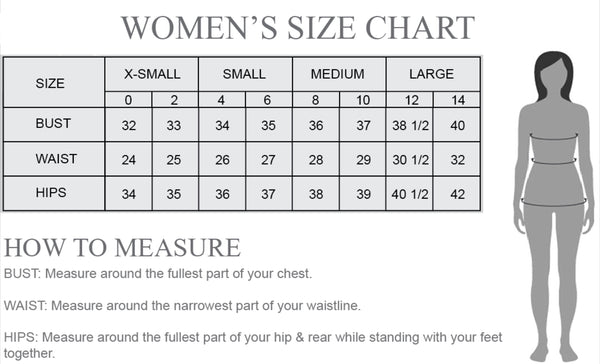 Women's and juniors standard size chart Electric 87 Boutique