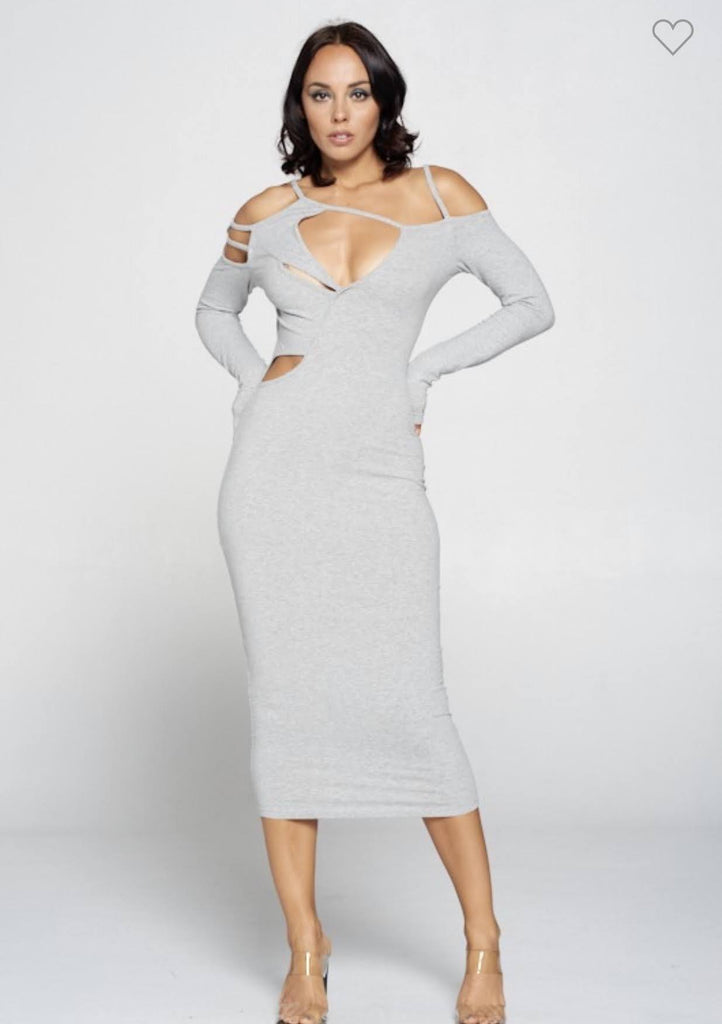 Grey Skies Cut Out Midi Dress