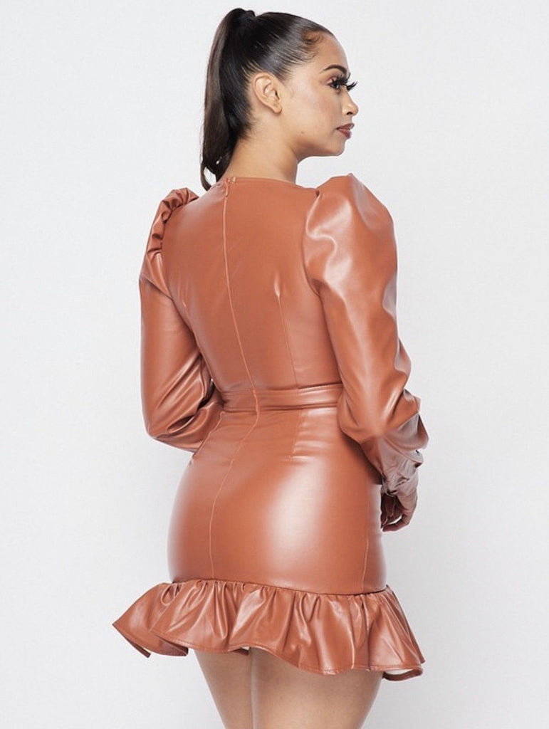 Caramel Latte Vegan Leather Mini Dress - Electric 87
