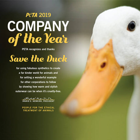 Save The Duck receives the PETA Award as company of the year 2019