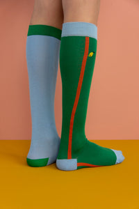 Knee High Socks | Blue/Green - Mr. Poco