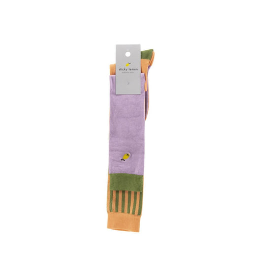 Knee High Socks | Lilac/Orange - Mr. Poco