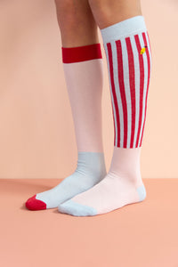 Knee High Socks | Pink/Blue - Mr. Poco