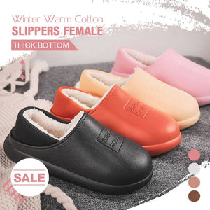 Winter Warm Cotton Slippers Female Thick Bottom