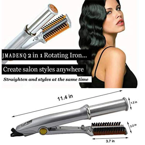2-in-1 Rotating Iron Hair Curler Straightener