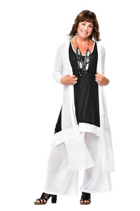 Long Poly Gauze Hooded Duster Jacket