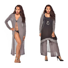 Load image into Gallery viewer, Long Poly Gauze Hooded Duster Jacket