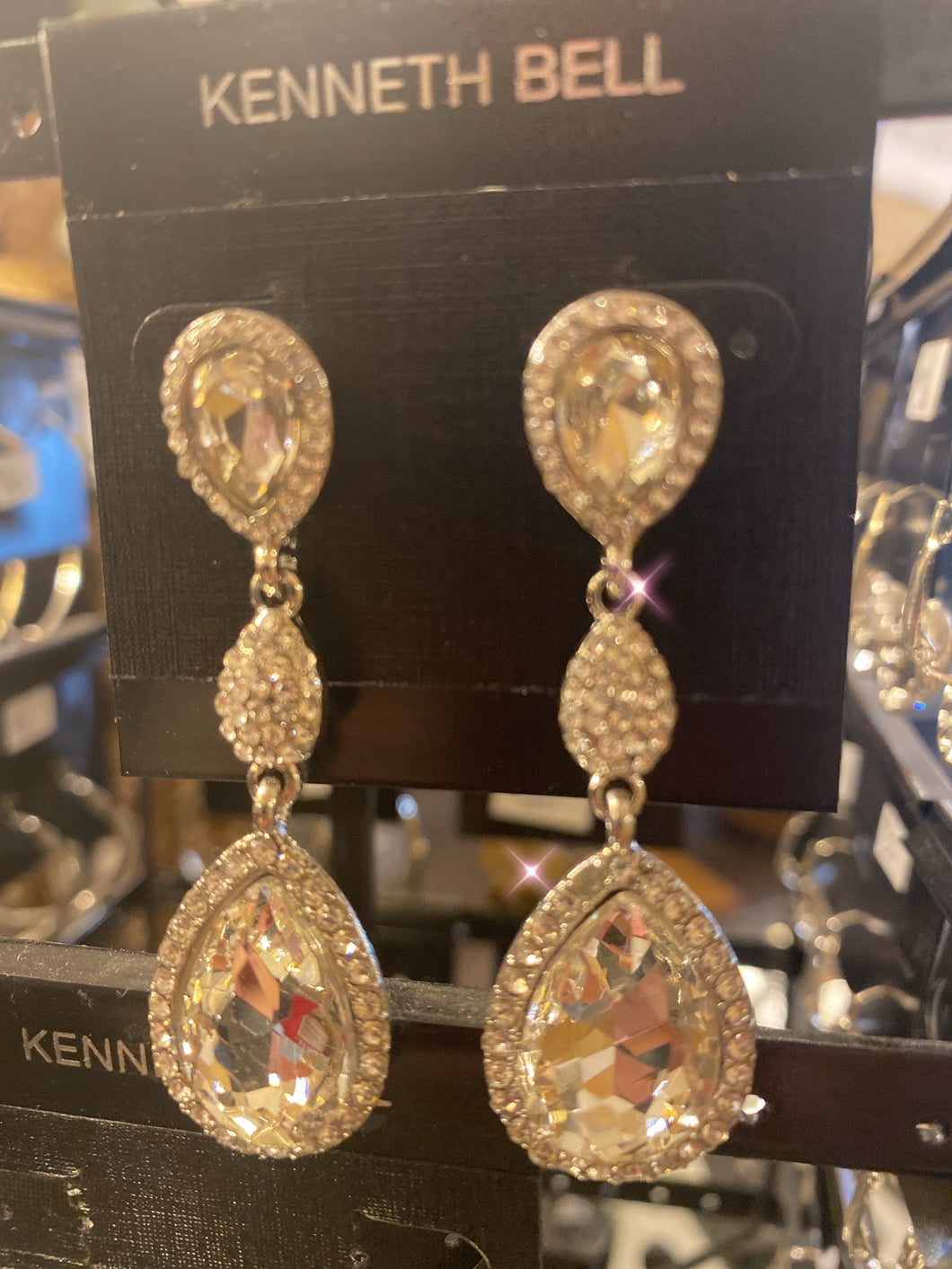Kenneth Bell Crystal Tear Drop Earrings