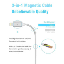 Load image into Gallery viewer, Magnetic Heads 3 in 1 Braided Fast Charging Usb Cord With Lighting, Micro USB and Type C