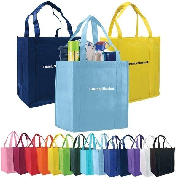 Promotional Custom Logo Atlas Non Woven Grocery Tote Bag - 12