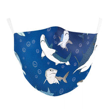 Load image into Gallery viewer, Blue Sharks Printed Face Mask, Washable Cloth Reusable Dust Proof  Face Cover With 2 Extra Filters