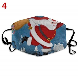 Christmas Unisex Face Masks Christmas Tree Santa Elk Print Windproof Mask Washable Breathable Mask Festival Mask
