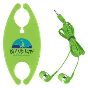 Promotional Custom Logo Earbuds With Cord Organizer