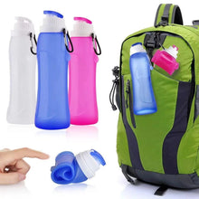 Load image into Gallery viewer, Custom Logo Travel Portable Collapsible Riding Outdoor Sports Bottle Silicone Folding Water Bottle 500ml