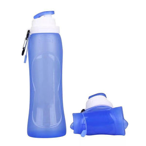 Custom Logo Travel Portable Collapsible Riding Outdoor Sports Bottle Silicone Folding Water Bottle 500ml
