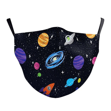 Galaxies Printed Face Mask, Washable Cloth Reusable Dust Proof  Face Cover With 2 Extra Filters