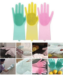 Magic Silicone Scrubber Rubber Cleaning Gloves, Dusting Dish Washing Pet Care Grooming Hair Car Insulated Kitchen Helper,1 Pair