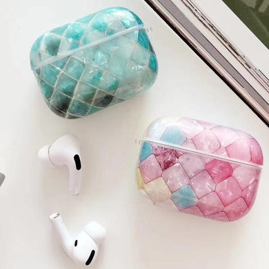 Airpod Pro & Airpod 1/2 Crystal Tile Case Cover Pink And Green