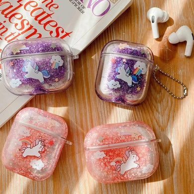 Airpod Pro & Airpod 1/2 Unicorn Glitter Case Cover Red, Purple