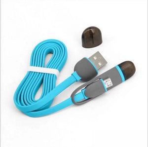 Custom Logo 2 In 1 Micro Usb Cable Android, Apple Mobile Phone Charger