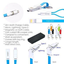 Load image into Gallery viewer, Custom Logo USB 3-in-1 Charging Cable Magnet Key Chain
